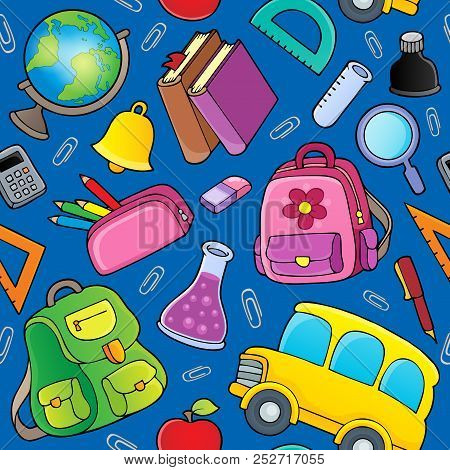 School Theme Seamless Background 2 - Eps10 Vector Picture Illustration.