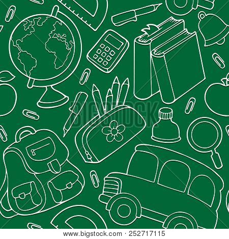 School Theme Seamless Background 3 - Eps10 Vector Picture Illustration.