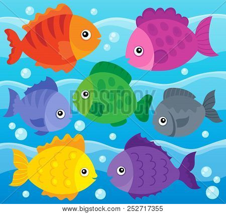 Stylized Fishes Theme Image 1 - Eps10 Vector Picture Illustration.