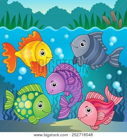 Stylized Fishes Theme Image 8 - Eps10 Vector Picture Illustration.
