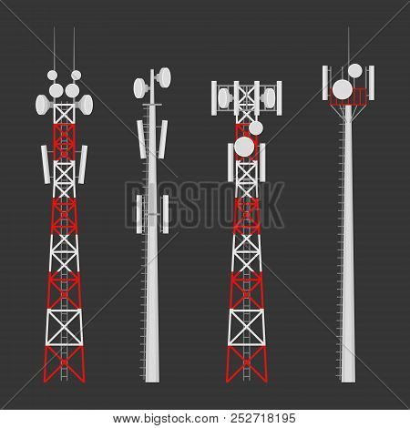 Transmission Cellular Towers Vector Set. Mobile Communications Tower With Satellite Communication An