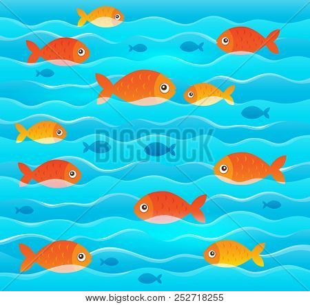 Stylized Fishes Topic Image 2 - Eps10 Vector Picture Illustration.