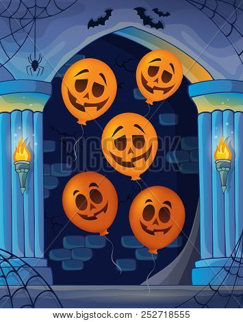 Wall Alcove With Halloween Balloons 1 - Eps10 Vector Picture Illustration.
