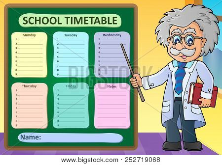 Weekly School Timetable Design 1 - Eps10 Vector Picture Illustration.