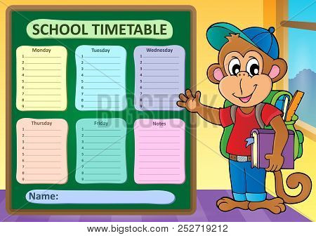 Weekly School Timetable Subject 9 - Eps10 Vector Picture Illustration.