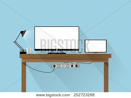 Flat Design Desktop Monitor And Laptop With White Screen On The Table With Blue Background., Vector