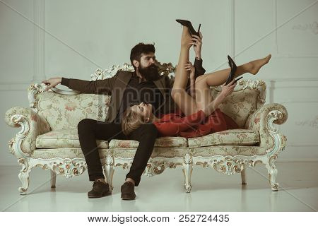 Foreplay. Foreplay Of Man And Woman. Couple Foreplay On Luxury Sofa Foreplay And Love Games Of Sexy