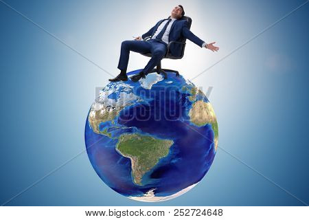 Businessman in global business and globalization concept