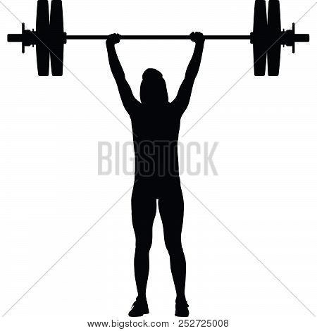 Weight Lifting Girl With Barbell Silhouette Vector