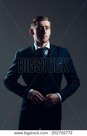 Boss Concept. Confident Boss. Boss In Fashionable Suit. Dress Like A Boss