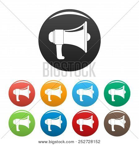 One Megaphone Icon. Simple Illustration Of One Megaphone Icons Set Color Isolated On White