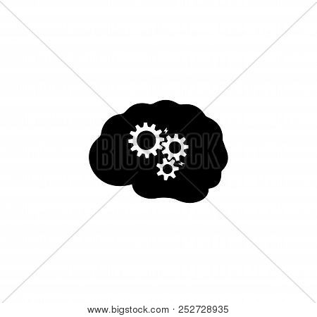 Brainstorming, School Brainstorm Icon. Simple Flat Vector Illustration Sign. Black Symbol On White B