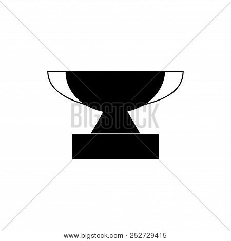 Black Cup Award Sign. Modern Symbol Of Victory, Award Achievement Sport. Insignia Ceremony Awarding