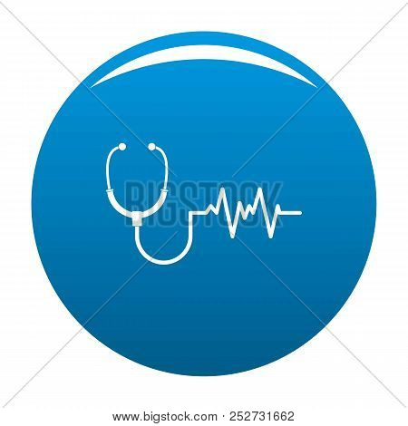 Stethoscope Icon. Simple Illustration Of Stethoscope Icon For Any Design Blue