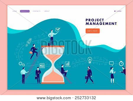 Vector Web Page Template For Business Communication, Workflow, Online Consulting, Time Management, T