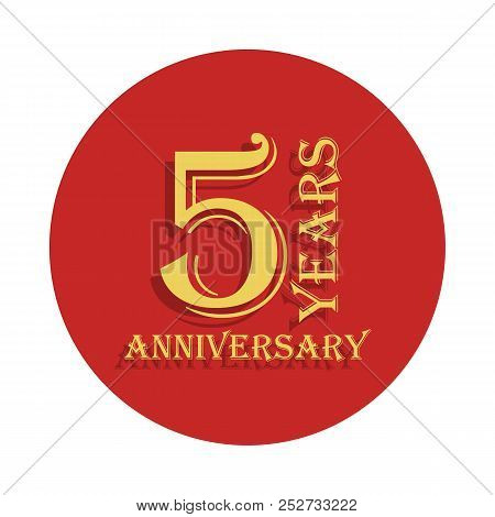 5 Years Anniversary Sign. Element Of Anniversary Sign. Premium Quality Graphic Design Icon In Badge