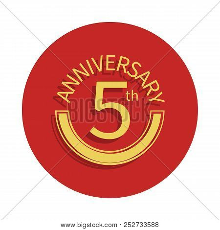 5 Anniversary Sign. Element Of Anniversary Sign. Premium Quality Graphic Design Icon In Badge Style.
