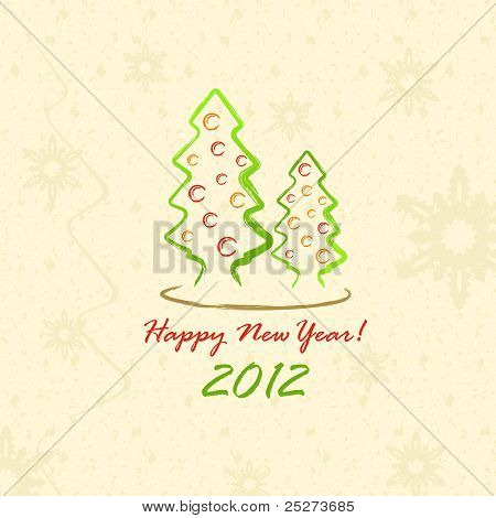 Christmas Trees 2012 (postcard in sketch style)