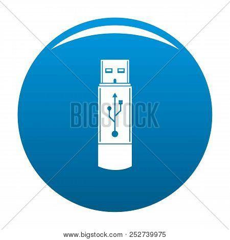 Portable Flash Drive Icon. Simple Illustration Of Portable Flash Drive Icon For Any Design Blue