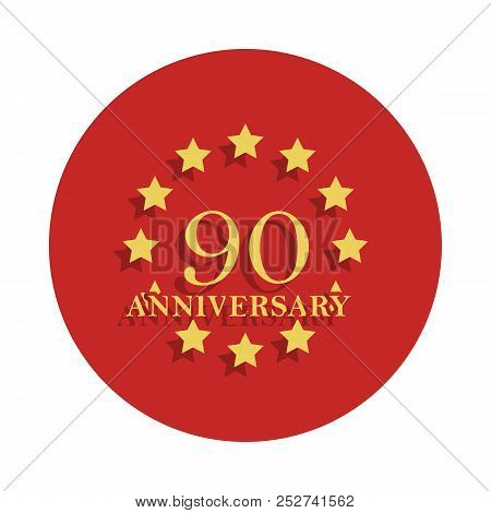 90 Anniversary Sign. Element Of Anniversary Sign. Premium Quality Graphic Design Icon In Badge Style
