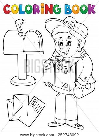 Coloring Book Mailman Delivering Box - Eps10 Vector Picture Illustration.