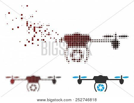 Vector Shutter Spy Airdrone Icon In Sparkle, Pixelated Halftone And Undamaged Entire Variants. Disin