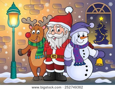 Christmas Characters On Sidewalk Theme 1 - Eps10 Vector Picture Illustration.