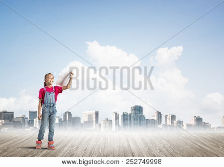 Concept Of Careless Happy Childhood With Girl Dreaming About Future