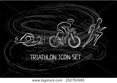 Triathlon Hand Drawn Icon For Designing Sport Event Or Marathon Or Competition Or Triathlon Team Or