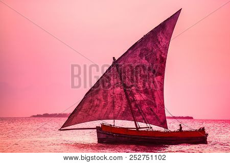 A Dhow Boat On The Sea. Sailing Boat On The Shore.