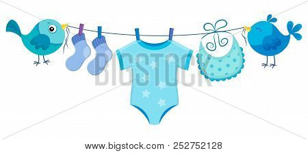 Line With Clothing For Baby Boy - Eps10 Vector Picture Illustration.