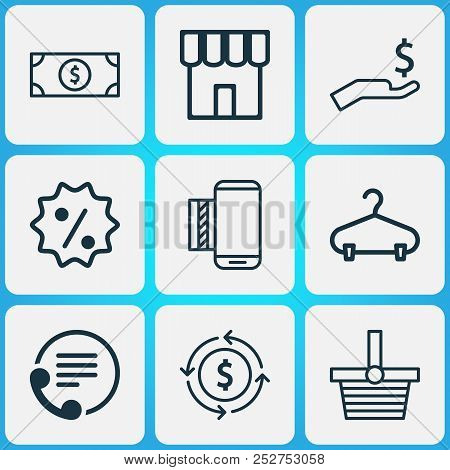 E-commerce Icons Set With Sale Badge, Contact Info, Currency Interchange And Other Mobile Service El