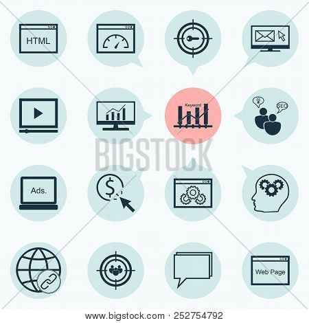 Marketing Icons Set With Video Advertising, Target Promotion, Email Marketing And Other Website Elem