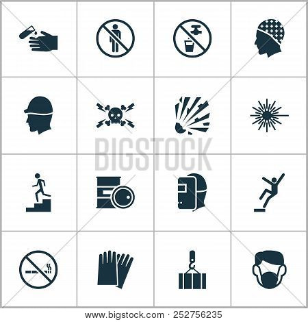 Protection Icons Set With Light, High Voltage, Hand Protection Cigarette Forbidden Elements. Isolate