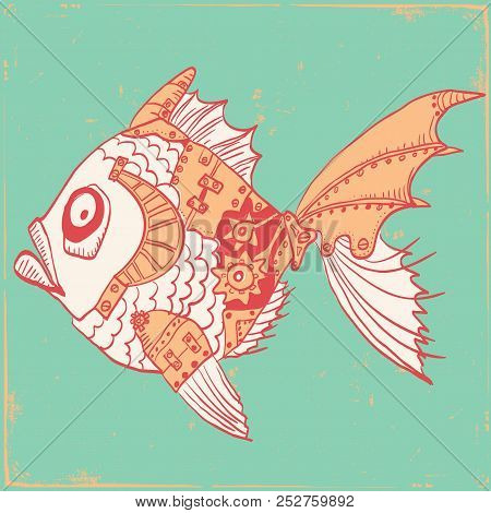 Fish With Mechanical Parts Of Body. Hand Drawn Steampunk Illustration On Old Paper