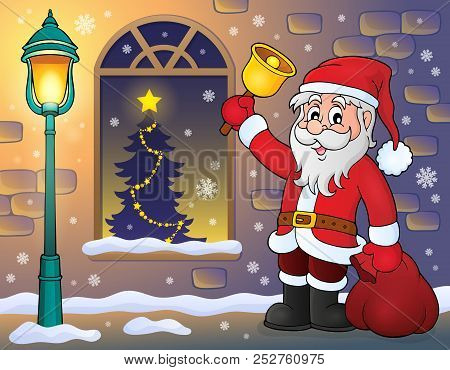 Santa Claus On Sidewalk Theme 1 - Eps10 Vector Picture Illustration.