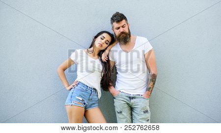 Couple In Love Hang Out Together Grey Wall Background. Couple Stylish Young Modern People. Couple Wh