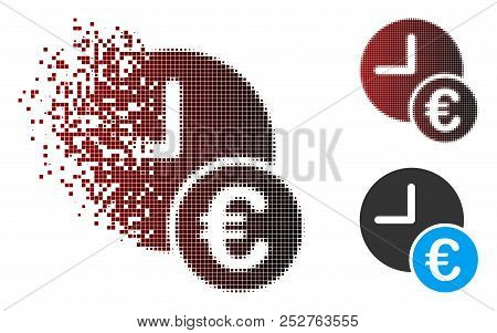Vector Euro Recurring Payments Icon In Sparkle, Dotted Halftone And Undamaged Whole Variants. Disapp