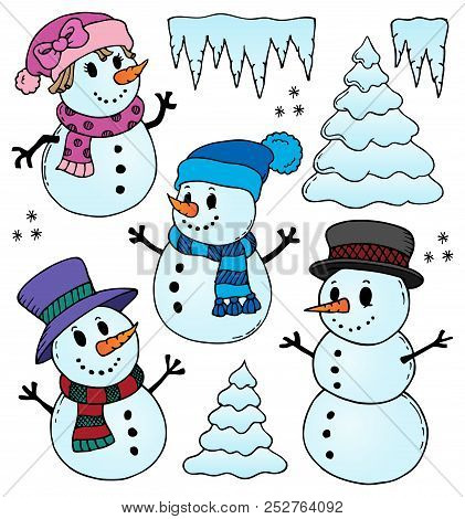 Stylized Snowmen Theme Drawings 1 - Eps10 Vector Picture Illustration.