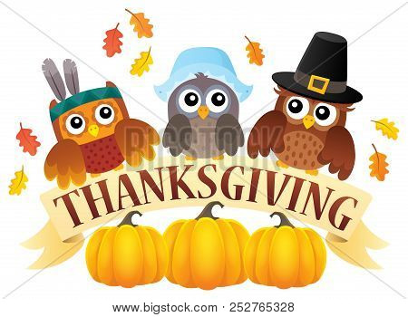 Thanksgiving Owls Thematic Image 7 - Eps10 Vector Picture Illustration.