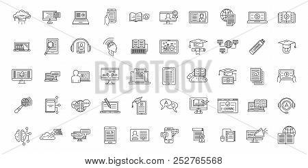 E-learning Training Icons Set. Outline Illustration Of 50 E-learning Training Icons For Web