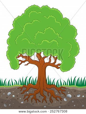 Tree With Roots Theme Image 3 - Eps10 Vector Picture Illustration.