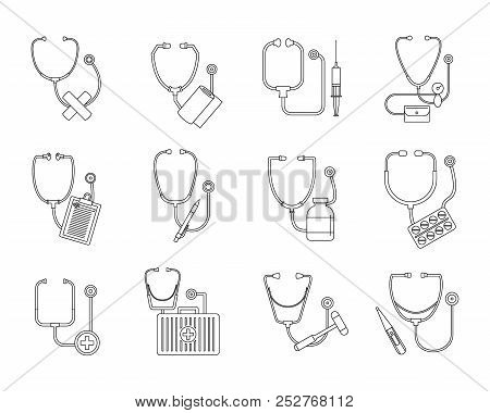 Phonendoscope Stethoscope Icons Set. Outline Illustration Of 12 Phonendoscope Stethoscope Icons For