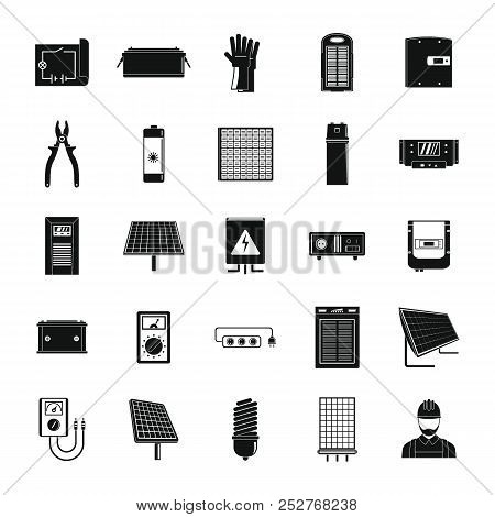 Solar Energy Equipment Icons Set. Simple Illustration Of 25 Solar Energy Equipment Cargo Icons For W