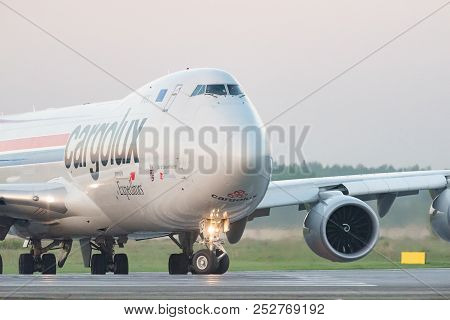 Novosibirsk, Russia - June 7, 2018: Boeing 747-8r7f Lx-vcf Cargolux Airlines International On The Ru