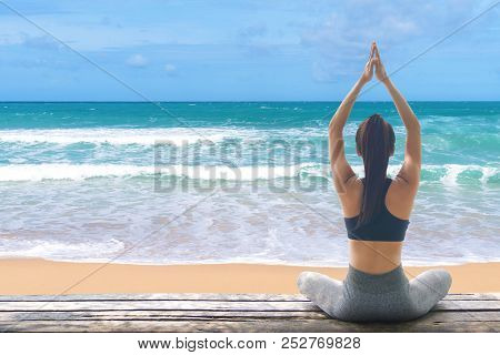 Young Woman Practicing Yoga In The Nature, Female Happiness, Young Healthy Woman Practicing Yoga On
