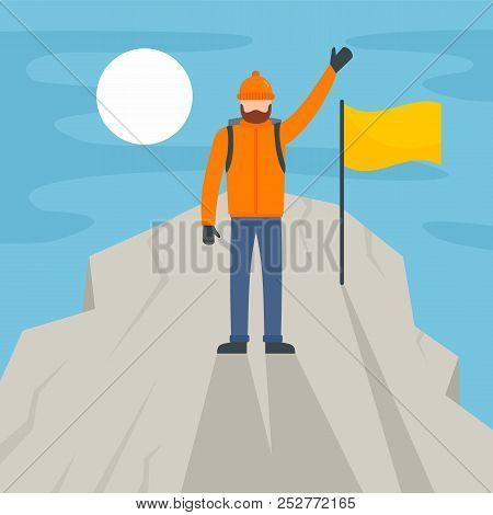 Man Climb The Mountain Peak Background. Flat Illustration Of Man Climb The Mountain Peak Background