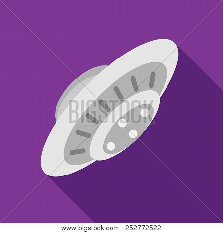 Ufo Saucer Flying Icon In Flat Style On A Purple Background