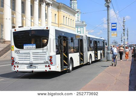 St. Petersburg, Russia - July 15, 2018: Local City Bus Public Transport Vehicle At Bus Stop On The S