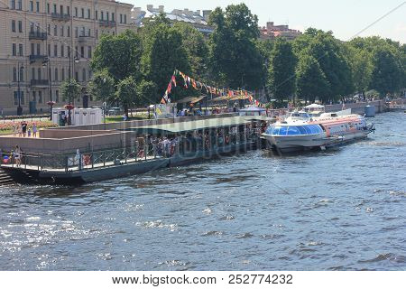 St. Petersburg, Russia - July 15, 2018: Excursion Tour Cruise Boat On Neva River Marina Bay. Cruise